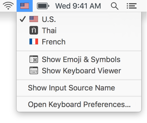The Input menu in the upper-right corner of the menu bar.