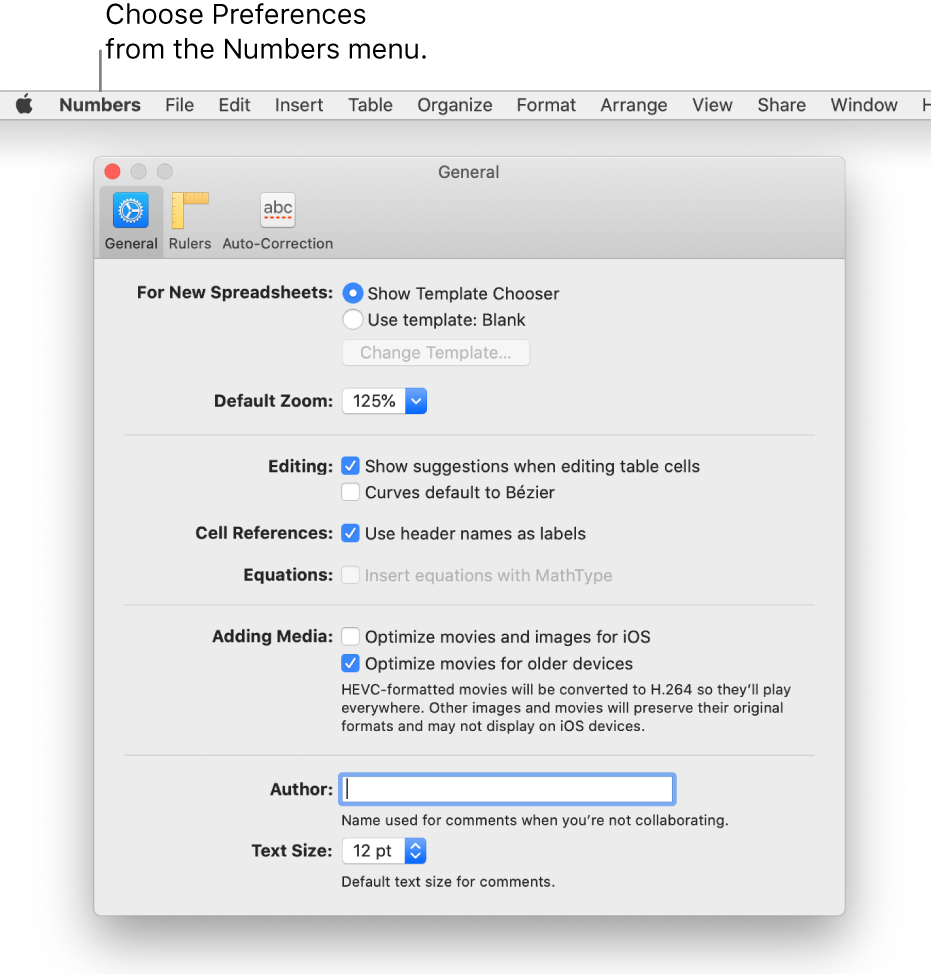 The Numbers Preferences dialog showing the General settings panel.