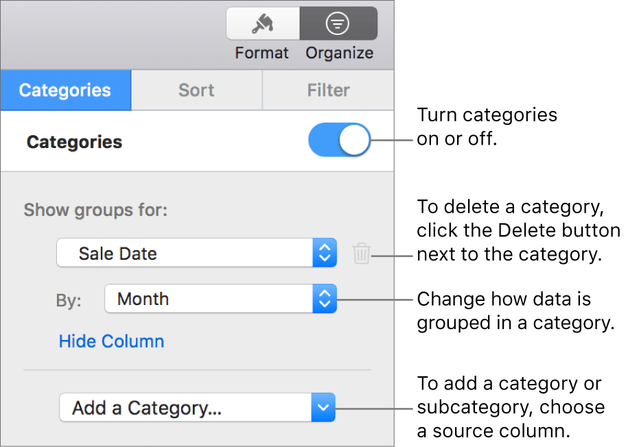 The categories sidebar with options for turning categories off, deleting categories, regrouping data, hiding a source column, and adding categories.