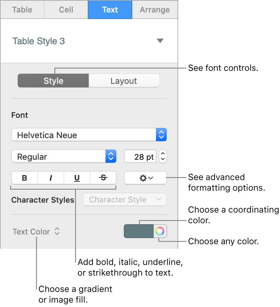 Control for styling table text.