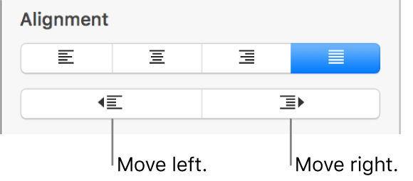 Paragraph alignment options.