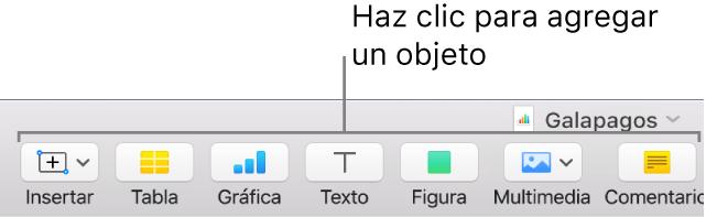 La ventana de Numbers con llamadas a los botones de objeto de la barra de herramientas.