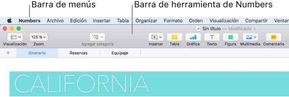 La barra de menús en la parte superior de la pantalla con los menús Apple, Numbers, Archivo, Edición, Insertar, Formato, Ordenar, Visualización, Compartir, Ventana y Ayuda. Debajo de la barra de menús se encuentra una hoja de cálculo de Numbers abierta con botones de la barra de herramientas a lo largo de la parte superior, con las opciones Visualización, Zoom, Agregar categoría, Insertar, Tabla, Gráfica, Texto, Figura, Contenido y Comentarios.