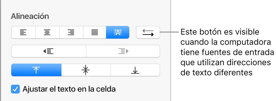 """El botón """"Dirección del párrafo"""" en la sección Alineación de la barra lateral Formato."""