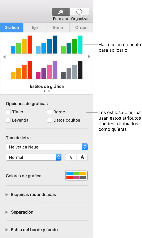 La barra lateral Formato que muestra los controles para dar formato a gráficas.
