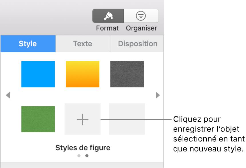 L'onglet Style de la barre latérale Format avec quatre styles d'image, un bouton Créer un style et un style de paramètre fictif vide.