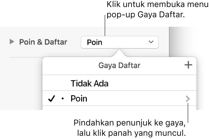 Menu pop-up Gaya Daftar dengan satu gaya dipilih dan panah di kanan jauh.
