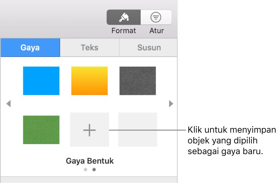 Tab Gaya bar samping Format dengan empat gaya gambar, tombol Buat Gaya, dan placeholder gaya kosong.