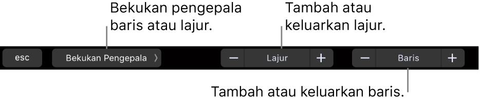 Touch Bar MacBook Pro dengan kawalan untuk membekukan baris atau lajur pengepala, menambah atau mengeluarkan lajur dan menambah atau mengeluarkan baris.