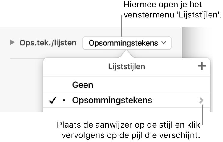 Het venstermenu 'Lijststijlen' waarin één stijl is geselecteerd. Helemaal rechts van de stijl staat een pijl.