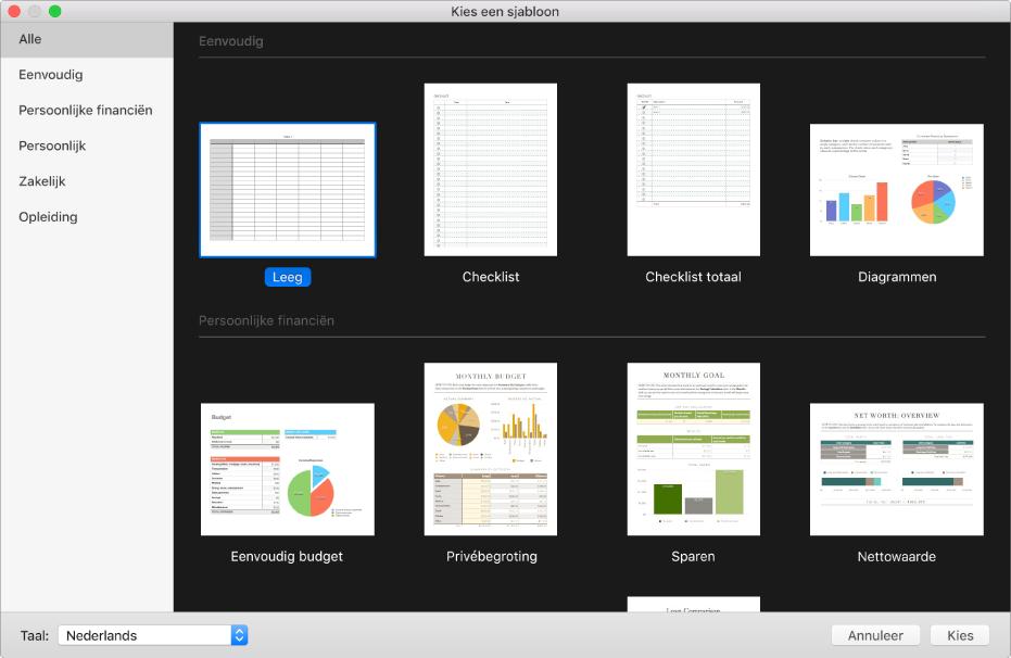 De sjabloonkiezer. Aan de rechterkant staan miniaturen van vooraf gedefinieerde sjablonen die je als basis voor een nieuwe spreadsheet kunt gebruiken. De navigatiekolom aan de linkerkant bevat sjablooncategorieën waarmee je de beschikbare sjablonen kunt filteren.