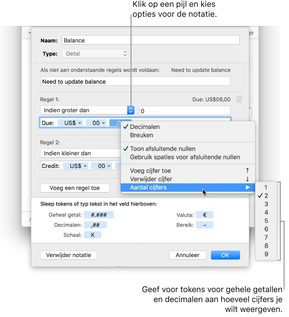 Het venster voor aangepaste celnotatie met regelaars voor aangepaste notatie-opties.