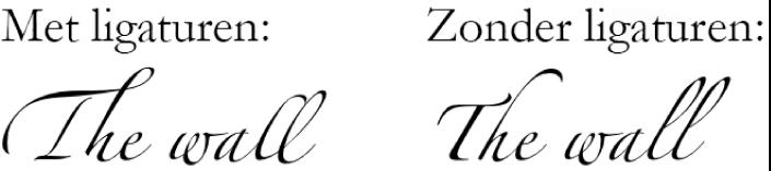 Tekstvoorbeelden met en zonder ligaturen.