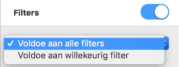 Het venstermenu om te kiezen of alleen rijen worden weergegeven die voldoen aan alle filters, of alle rijen die aan minimaal een van de filters voldoen.
