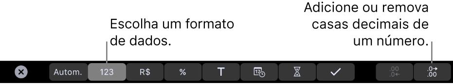 Touch Bar do MacBook Pro, com controles para escolher um formato de dados e adicionar ou remover casas decimais de um número.