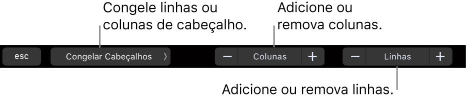 Touch Bar do MacBook Pro, com controles para congelar linhas ou colunas de cabeçalho, adicionar ou remover colunas e adicionar ou remover linhas.