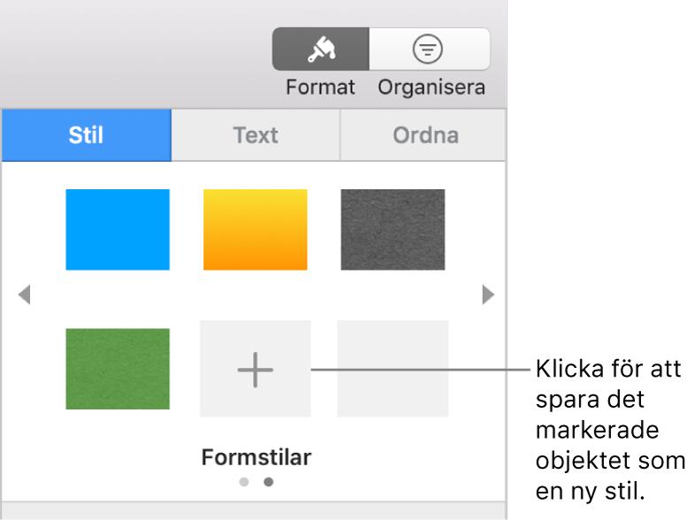 Fliken Stil i formatsidofältet med fyra bildstilar, knappen Skapa stil och en tom stilplatshållare.