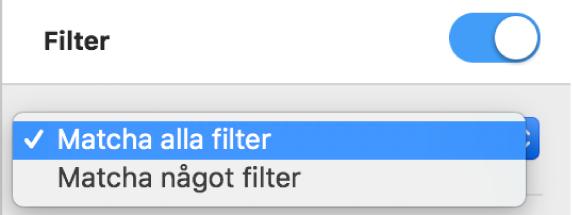 Popupmenyn för val mellan att visa rader som matchar alla filter eller ett filter.