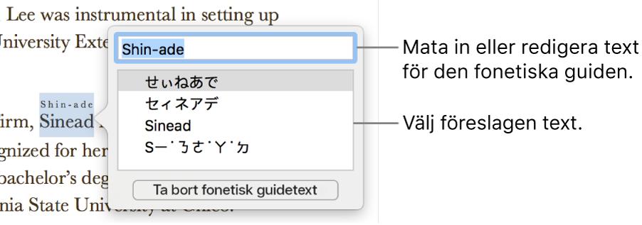 Den fonetiska guiden är öppen för ett ord, med linjer som pekar på textfältet och föreslagen text.