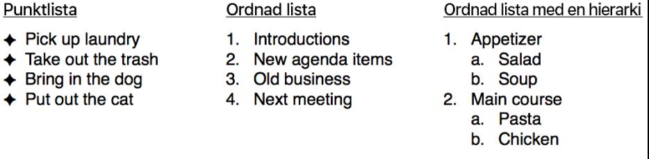 Exempel på lista med punkter, ordnade listor och listor ordnade med hierarki.
