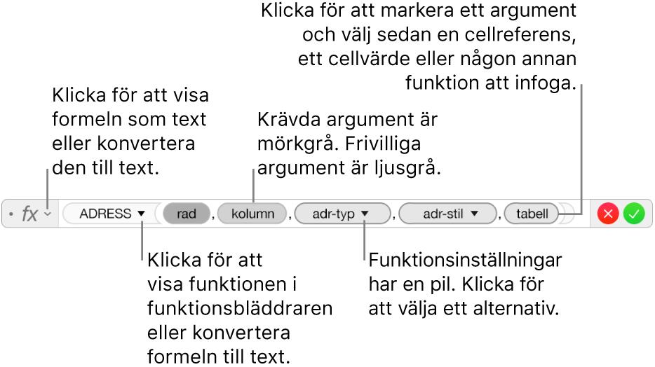 Formelredigeraren visar funktionen ADRESS och dess argumentvariabler.