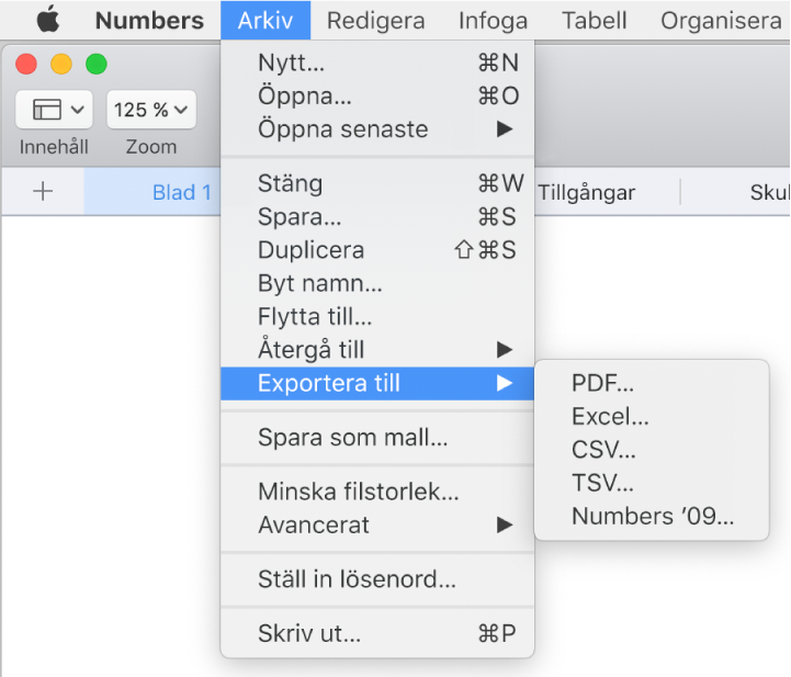 Öppen Arkiv-meny med Exportera till markerat. Undermenyn visar exportalternativ för PDF, Excel, CVS och Numbers '09.