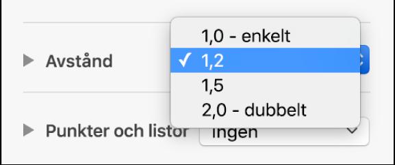 Popupmenyn Avstånd med Enkelt, Dubbelt och andra alternativ.