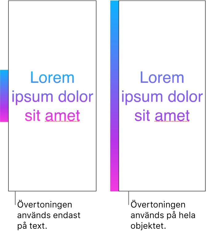 Exempel på sida vid sida. I det första exemplet visas text där övertoningen används på bara texten så att hela färgspektrumet visas i texten. I det andra visas text där övertoningen används på hela objektet, så att bara en del av färgspektrumet visas i texten.