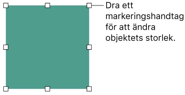 Ett objekt med vita fyrkanter på ramen för ändring av objektets storlek.