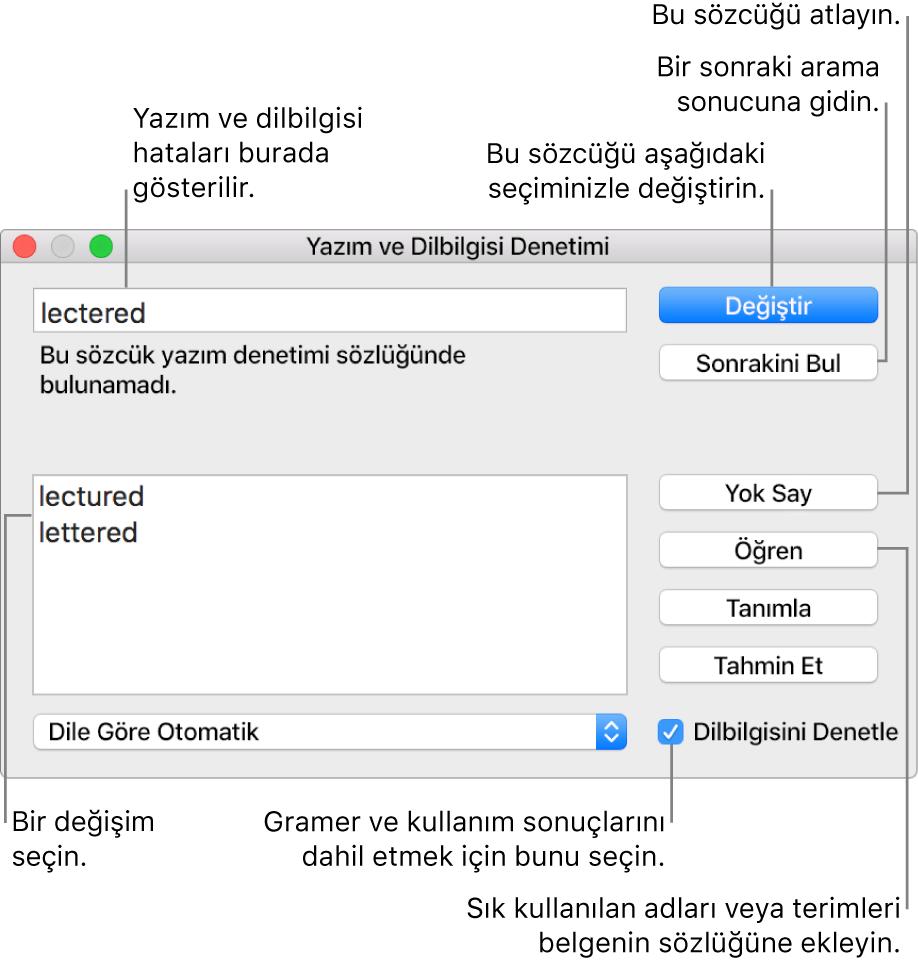 Yazım ve Dilbilgisi Denetimi penceresi.