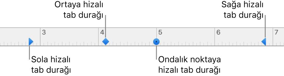 Sol ve sağ paragraf marjları, sola, ortaya, ondalık noktasına ve sağa hizalama sekmeleri için işaretleyicili cetvel.
