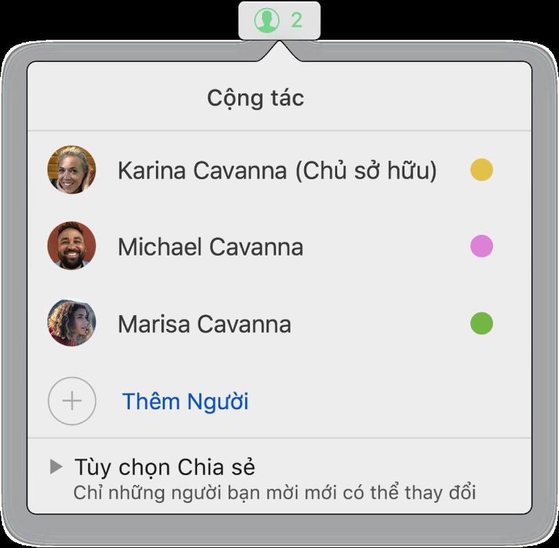Menu Cộng tác đang hiển thị tên của những người đang cộng tác trên trang tính. Tùy chọn Chia sẻ nằm bên dưới tên.