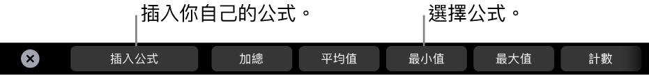 Macbook Pro「觸控欄」中可插入你自己的公式及選擇常見公式的控制項目。