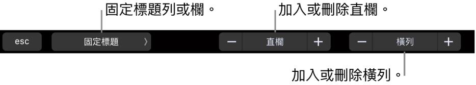 MacBook Pro 的「觸控欄」,設有凍結標題列或標題欄、新增或移除直欄及新增或移除橫列的控制項目。