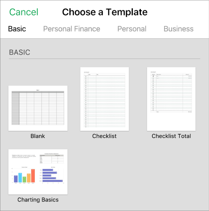 The template chooser, showing thumbnails of pre-designed templates you can use as a starting point for creating spreadsheets.