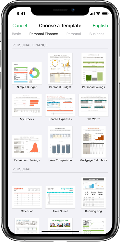The template chooser with categories across the top. The Personal Finance category is selected.