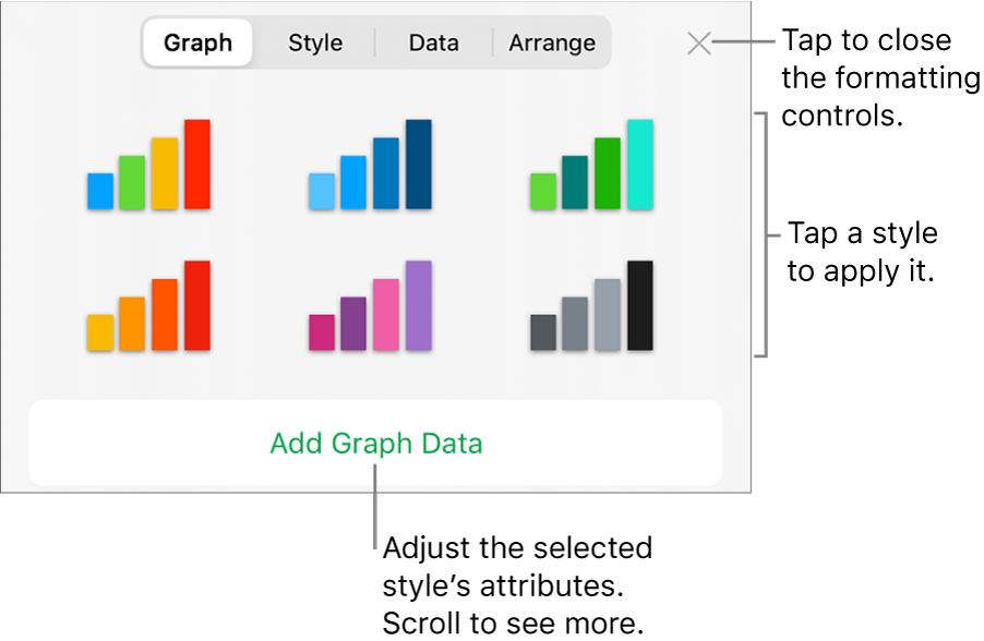 The Graphs tab of the Format button.