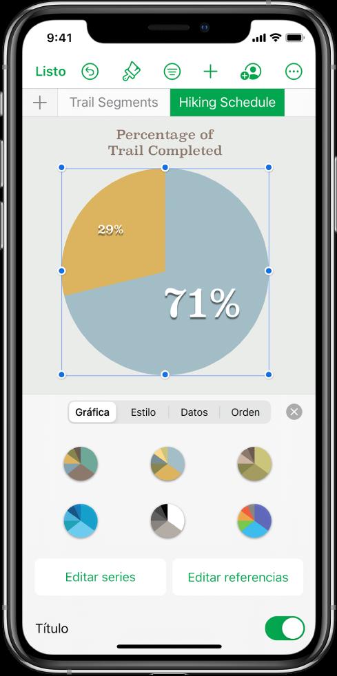 Una gráfica de sectores mostrando los porcentajes de caminos completados. El menú Formato también está abierto y muestra distintos estilos de gráfica de los que elegir, así como opciones para editar las series o referencias de gráfica, y activar o desactivar el título de la gráfica.
