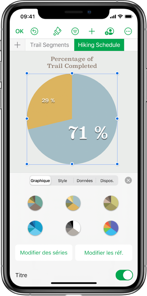 Diagramme circulaire avec les pourcentages des sentiers parcourus jusqu'au bout. Le menu Format est également ouvert, montrant différents styles de graphiques à sélectionner, ainsi que des options pour modifier des séries ou des références du graphique et activer ou désactiver le titre du graphique.