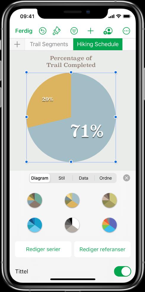 Et sektordiagram som viser prosentandeler over gjennomførte turer. Format-menyen er også åpen og viser ulike diagramstiler som kan velges, samt alternativer for å redigere serien eller diagramreferanser og slå diagramtittelen av eller på.