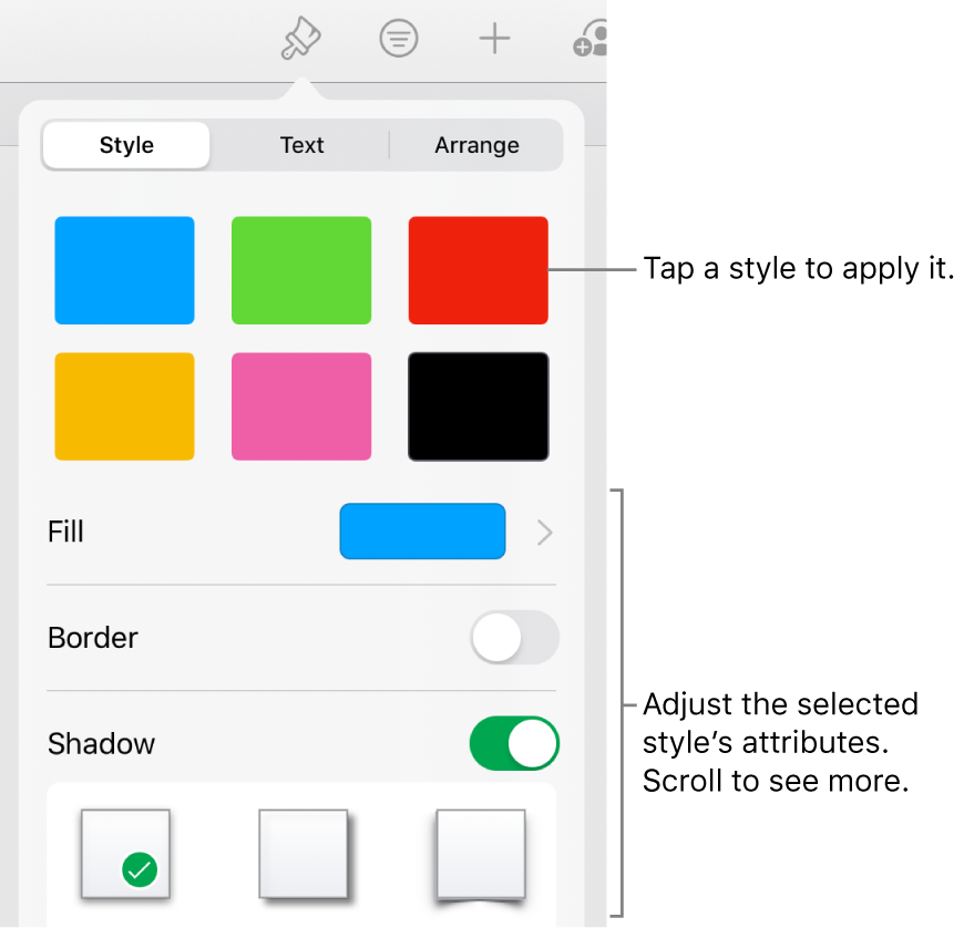 The Style tab of the Format menu with shape styles at the top and controls below them to change the fill, border, and shadow.