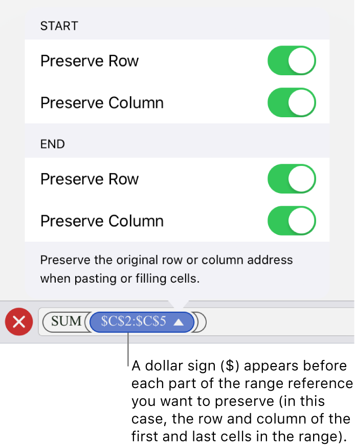 The controls for specifying which of a cell's row and column references should be preserved if the cell is moved or copied. A dollar sign appears before each part of the range reference you want to preserve.