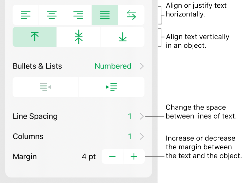 The Layout section of the Format inspector with callouts to the text alignment and spacing buttons.