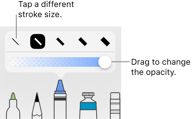Controls for choosing a stroke size and a slider for adjusting the opacity.