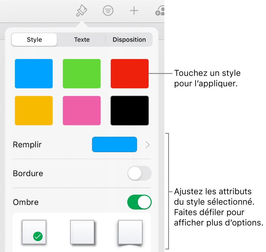 L'onglet Style du menu Format avec les styles de figure en haut et des commandes au-dessous pour modifier le remplissage, la bordure et l'ombre.