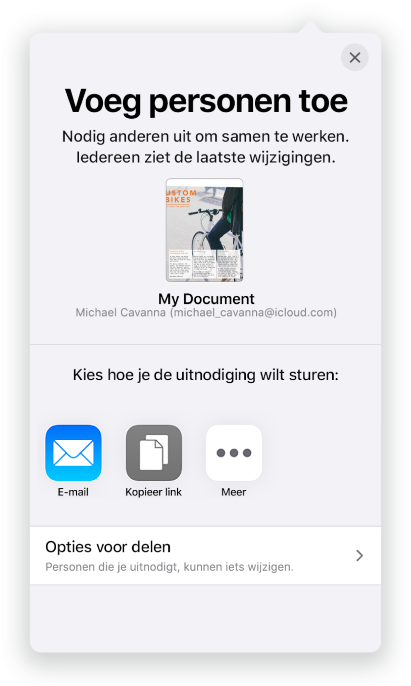 Het scherm 'Voeg personen toe' met daarin een afbeelding van het document dat wordt gedeeld. Eronder staan knoppen voor de manieren waarop de uitnodiging kan worden verstuurd, waaronder Mail en 'Kopieer koppeling'. Onder in het scherm staat de knop 'Opties voor delen'.