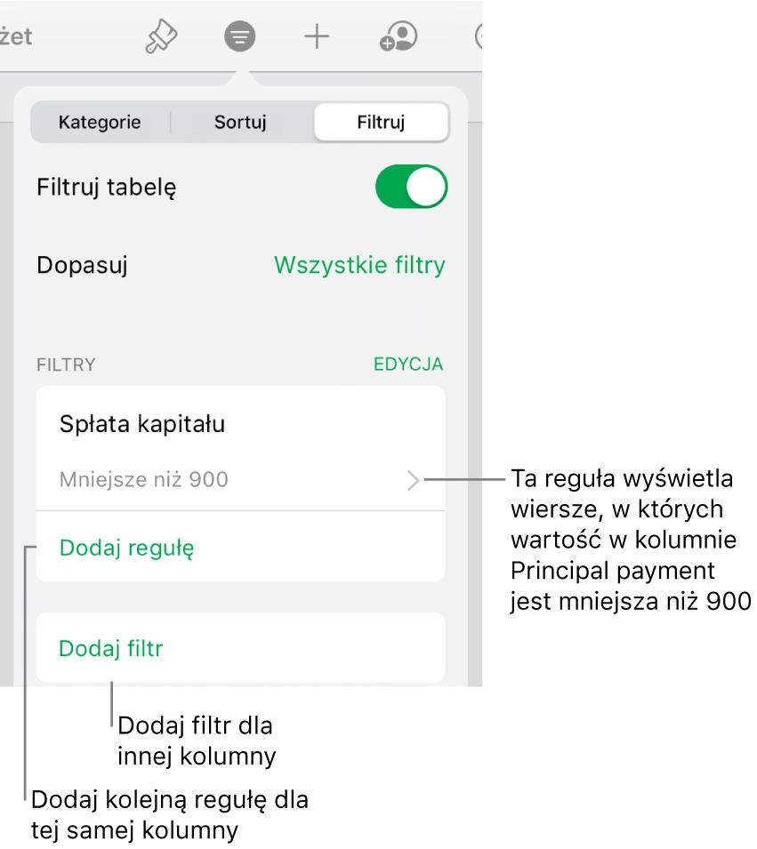 Narzędzia do dodawania nowych reguł filtrowania lub edycji istniejących.
