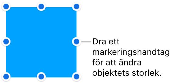 Ett objekt med blå prickar på ramen för ändring av objektets storlek.