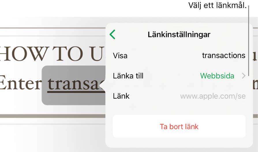 Popovern Länkinställningar med fält för Visa, Länka till (inställt på Webbsida) och Länk. Längst ned finns knappen Ta bort länk.