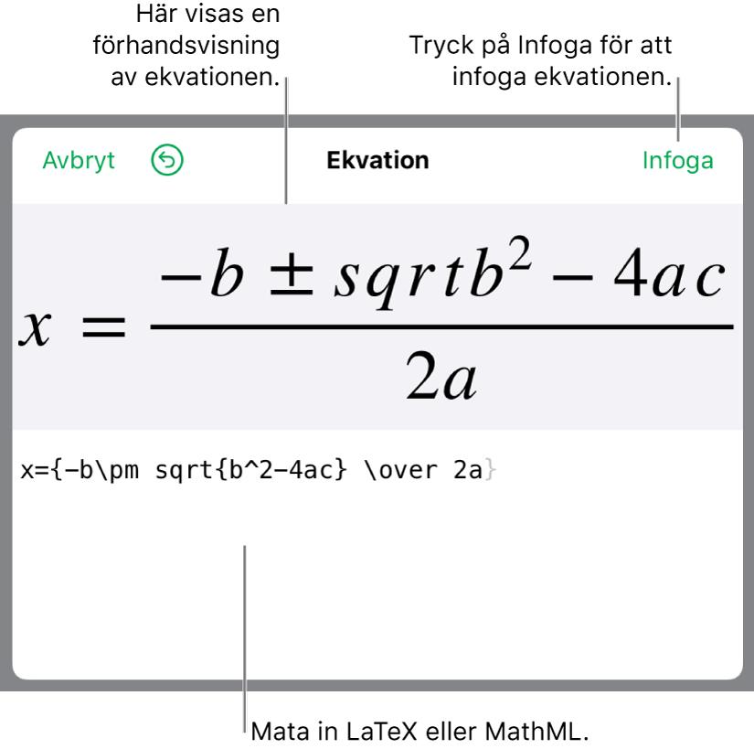 Den kvadratiska formeln skriven med LaTeX i ekvationsfältet och en förhandsvisning av formeln nedanför.